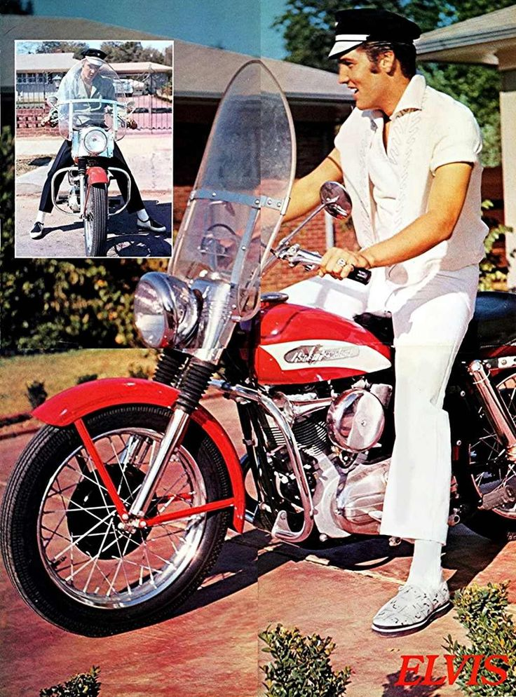Elvis Presley on his 1956 Harley-Davidson KH outside his home on 1034 Audubon Drive, 1956 (The little picture in the upper left corner is reversed.)