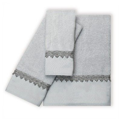 "India Ink Alexa Silver Traditional Bath Towel - Spa Blue/Silver (27""x50"")"