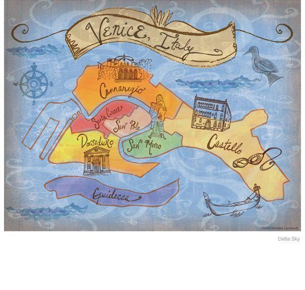 Love the artwork of Kristine Lombardi.  map of Venice, Italy