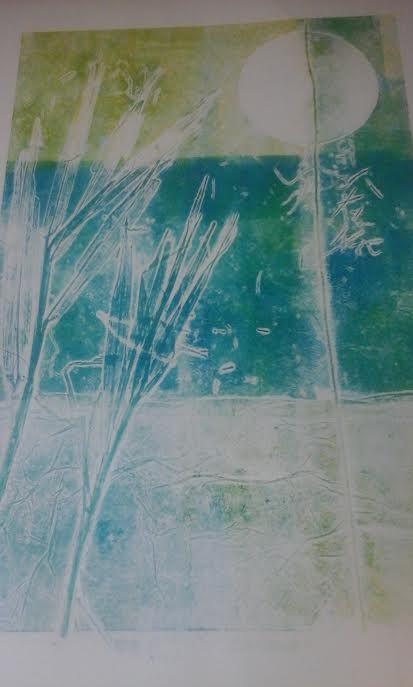 Titel:Fietsroute: druktechniek riet, schuurpapier, papier en touw