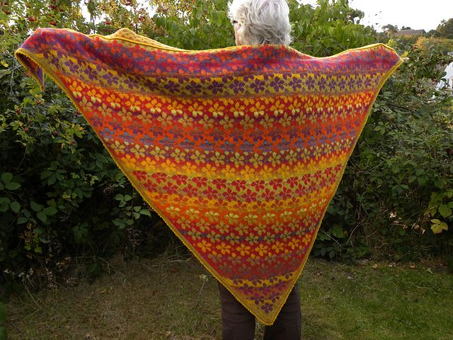 There are no specific yardage requirements. The shawl that was knit in the photos were made using the following colors and total grams needed to finish the sample shawl.