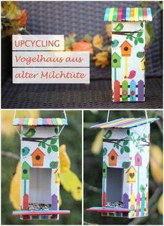 Upcycling Vogelhaus aus Milchtüte – Bird house made of milk carton