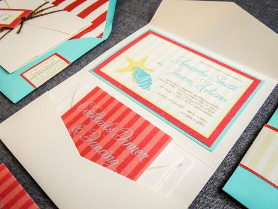 Beach Wedding Invitations Aqua and Red Wedding by JulieHananDesign, $150.00.  Check out the artist's link.