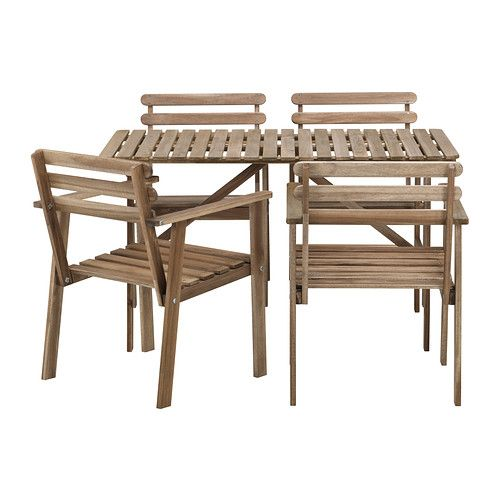 IKEA - ASKHOLMEN, Table+4 chaises accoud, extérieur, Pour plus de confort et pour personnaliser votre siège vous pouvez ajouter un coussin dans le style qui vous plaît.Pour accroître sa résistance et que vous puissiez apprécier l'aspect naturel du bois, ce meuble a été prétraité avec plusieurs couches de teinture pour bois semi-transparente.