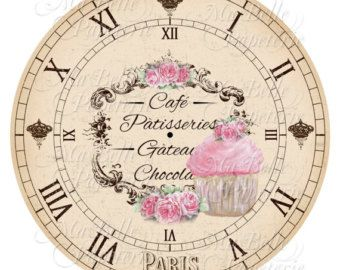 Clock-DIY Shabby Chic Clock Face with Cupcake от MaBellePapeterie