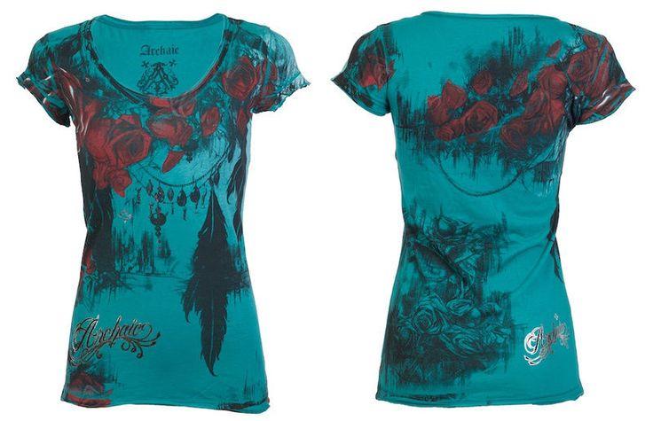 Archaic Affliction Women T Shirt Beauty Roses Tattoo Biker BKE Sinful s XL $40 A | eBay