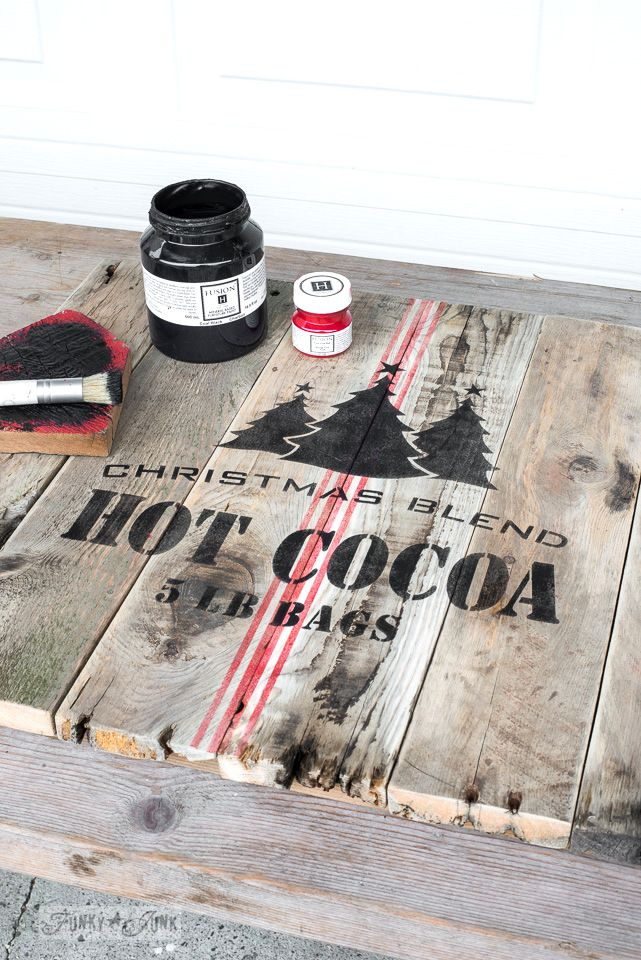 Stencilling a red and black crate styled Christmas themed hot cocoa TV tray, from pallet wood and Funky Junk's Old Sign Stencils and Fusion Mineral Paint | funkyjunkinteriors.net