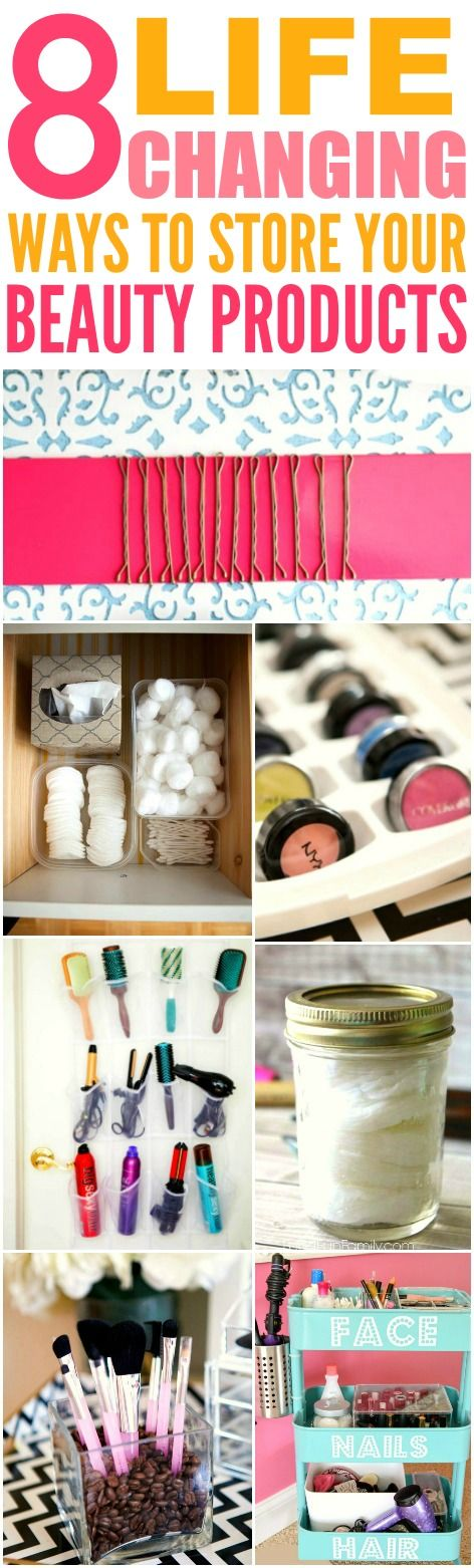 These 8 beyond genius ways to store your beauty products are THE BEST! I'm so glad I found these GREAT tips! Now I have some easy and cute ways to keep things organized! Definitely pinning for later!