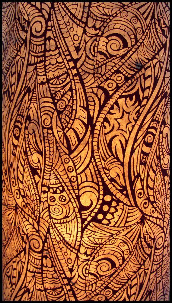 Lamp tube Maori paper lokta Maori patterned plum color. by YaPoYa, €70.00