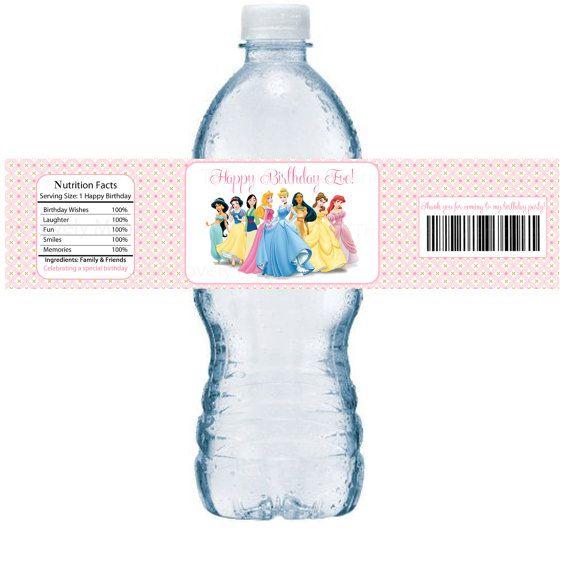 Esta encantadora princesa Disney inspirada - etiquetas de botellas de agua personalizadas son perfectas para tu cumpleaños de los niños. Usted