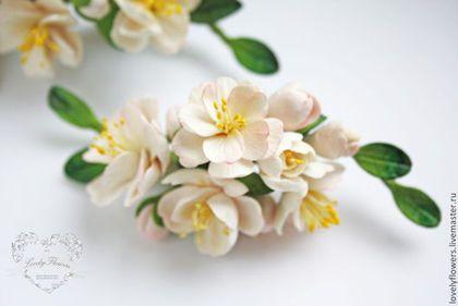 Свадебные украшения ручной работы. Ярмарка Мастеров - ручная работа. Купить Цветы персика в прическу. Handmade.…