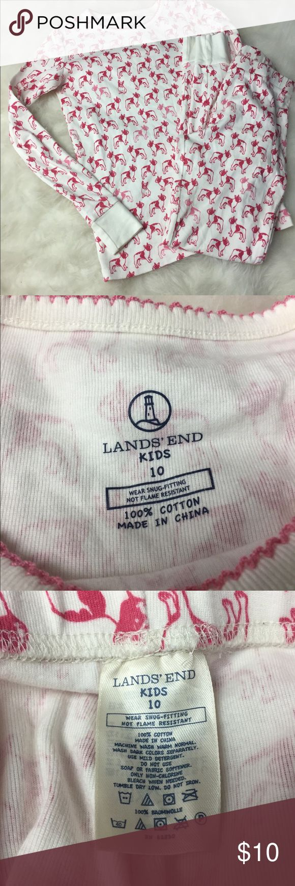 Girl's Lands End Kids Long John Pajamas size 10 Girl's Lands End Kids Long John Pajamas size 10.  Great Pink & Dark Pink Dog Print made of 100% Cotton.  Gently used.  Please see picture's.   Thank you for shopping with us, we appreciate your business.  *All items are measured laying flat, please be sure to check sizing before purchasing.  All brands do fit differently and all sales are final. I do my best to accurately describe all items so please be sure to ask any questions & view photos…