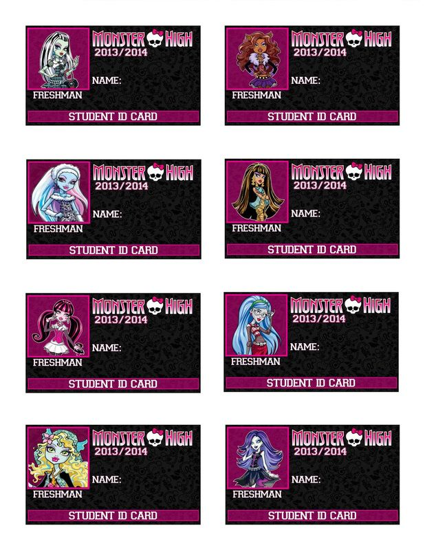 Printable Monster High ID Cards - Set 1 - Monster High Party Supplies