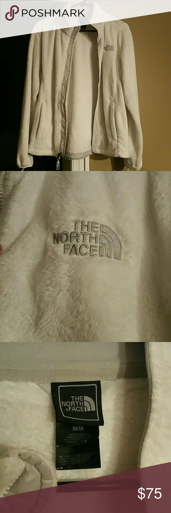 White North Face Jacket Size M White fuzzy north face jacket barely worn and in great condition! No holes or stains! Smoke free home Retails $99.00 plus tax North Face Jackets & Coats