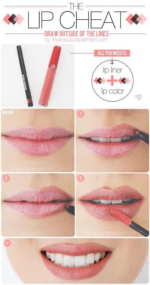 A Nude Lip Pencil — a shade darker than your natural lip color. Your Favorite Lipstick/Gloss STEPS: Look in the mirror to detect where your natural lip line