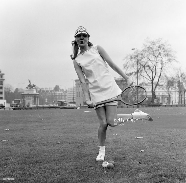 Ted Tinling designed 1967 Tennis Wear Fashion Collection, Hyde Park, London, 5th January 1967. Our Picture Shows Shirley Osborne wearing Ted Tinling shift and striped bottoms in Dracron polyester fibre and cotton.
