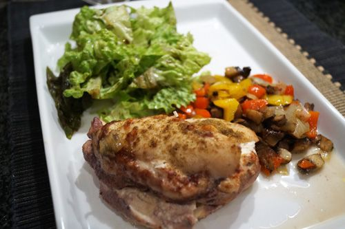 chicken breasts with goat cheese and veggie medley Recipe