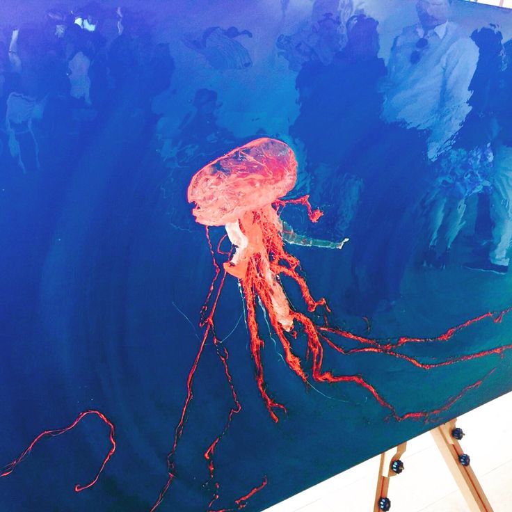 Jelly fish made of mandarine bags up cycled #recycled #resin #plastic bags #DMR #DMRartstudio #painting