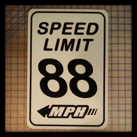 Speed Limit 88 MPH Sign (Back to the Future) on Etsy, $19.99
