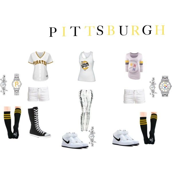 PITTSBURGH!!!! by yeararoundqueen on Polyvore featuring NIKE, Hudson Jeans, Majestic, Le Temps Des Cerises, Converse, pirates, Pittsburgh, penguins and steelers