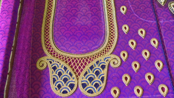 46. Violet Blouse with Mango design and thilagam maggam work