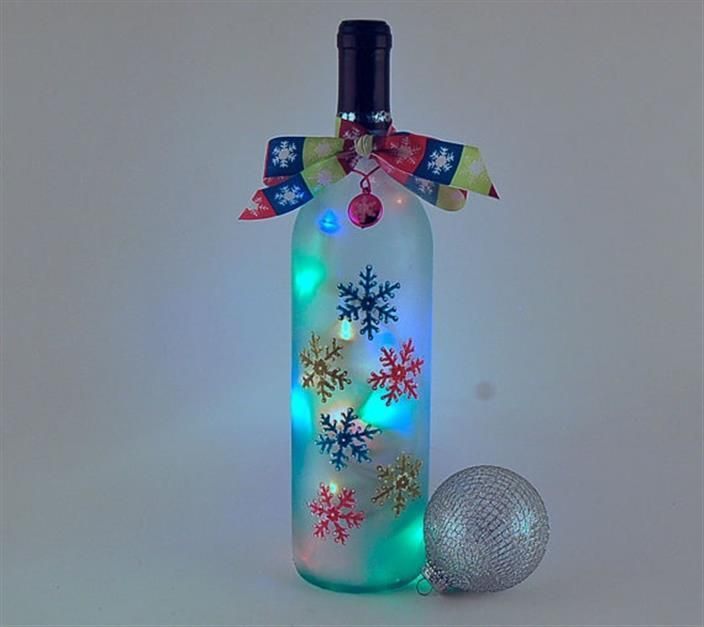 Make this for a winter decoration with that empty bottle for Empty bottle decoration ideas