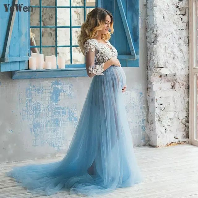 De Encaje Formal Embarazada Foto Vestido De Manga Larga Ver A Través De Azul Vesti Vestido De Maternidad Vestidos De Novia Embarazada Vestidos Para Embarazadas