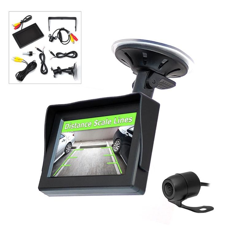 4.3-in TFT LCD Monitor w/ Universal Mount Rear View & Backup Color CMD Distance Scale Line Camera