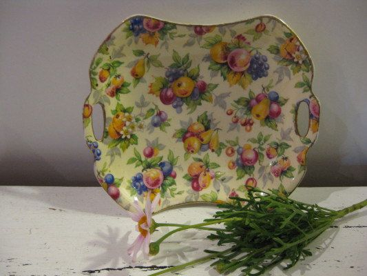 Vintage Royal Winton All Over Floral EVESHAM Handled Dish via Etsy