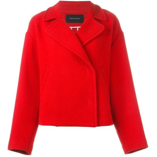 Cédric Charlier double breasted peacoat ($630) ❤ liked on Polyvore featuring outerwear, coats, red, pea coat, peacoat coat, double-breasted pea coat, double-breasted coat and red pea coat