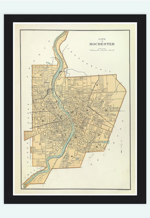 Old Map of Rochester  United States 1895 by OldCityPrints on Etsy, $29.00