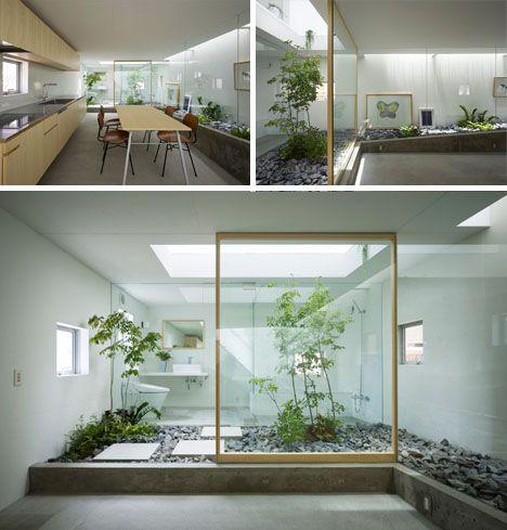 green modern home garden