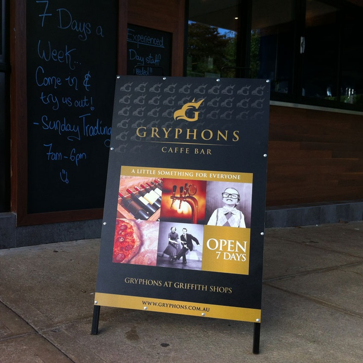 2B Advertising & Design - Gryphons Caffe & Bar - A Frame Sign