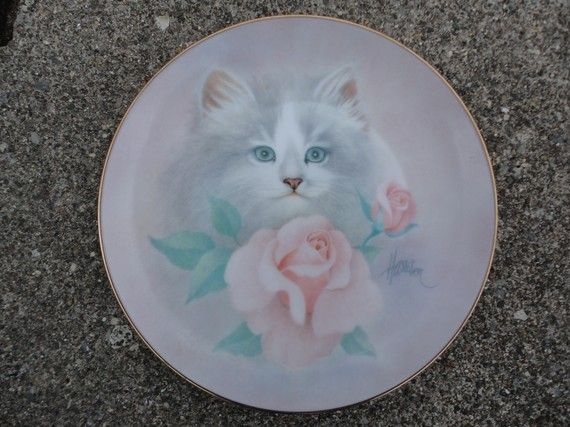 Blushing Beauties. Cat with a pink rose. Bob Harrison Collection Plate.1988