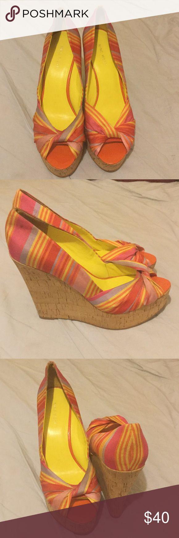 """Nine West Pink Striped Wedges Nine West Pink Striped Wedges Size 9 3"""" Wedge Nine West Shoes Wedges"""