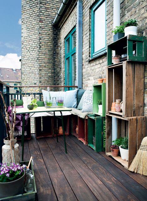 #balkon met #kratjes #inspiratie #balkon_idee
