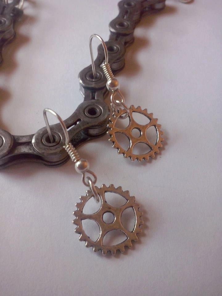 Gears earrings,bike love earrings,triathlon earrings,bike earrings earrings by TriJewelry on Etsy