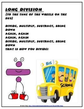 Math Songs - free - super excited! Songs always help students remember content easier and this freebie includes short songs to familar tunes for long division, order of operations, etc.