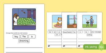 Simple Sentence Scramble Activity Sheet - simple sentence, scramble, unscramble, activity, simple