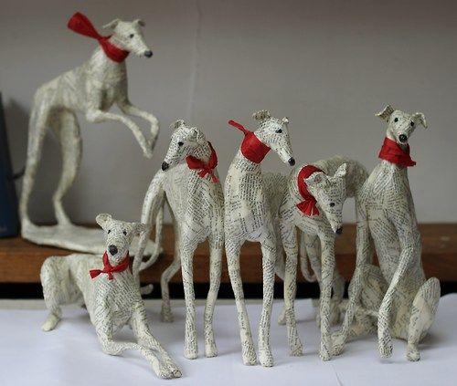 Paper Mache dogs by Lorraine Corrigan. So adorable!