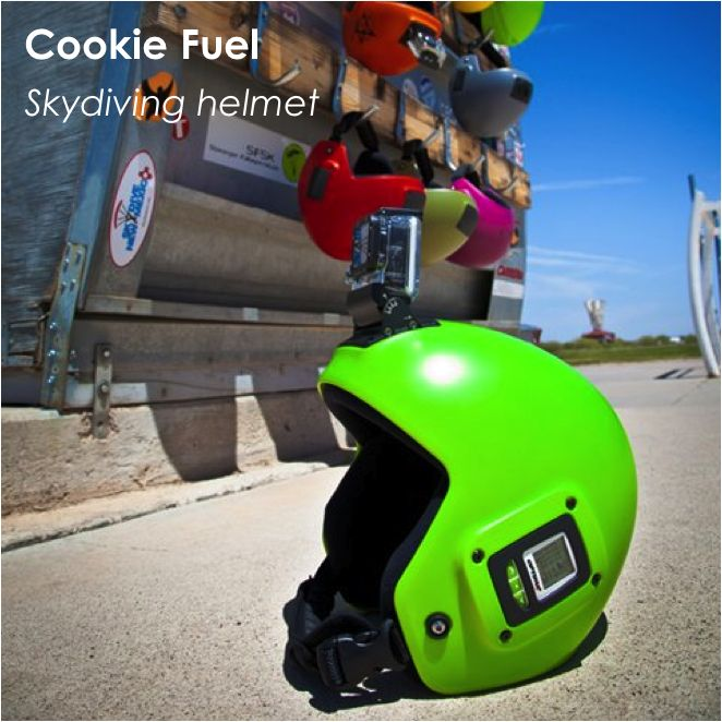 Cookie Fuel is an open-face, multi-purpose skydiving helmet with integrated camera and audio mounts, to eliminate potentially deadly line entanglement.    Rigid and flexible, the Fuel can house Sony, Contour and GoPro cameras, with mounts and altimeters completely integrated into its shell. It also features a cutaway system that allows the helmet to be released easily with one finger in the case of an emergency.