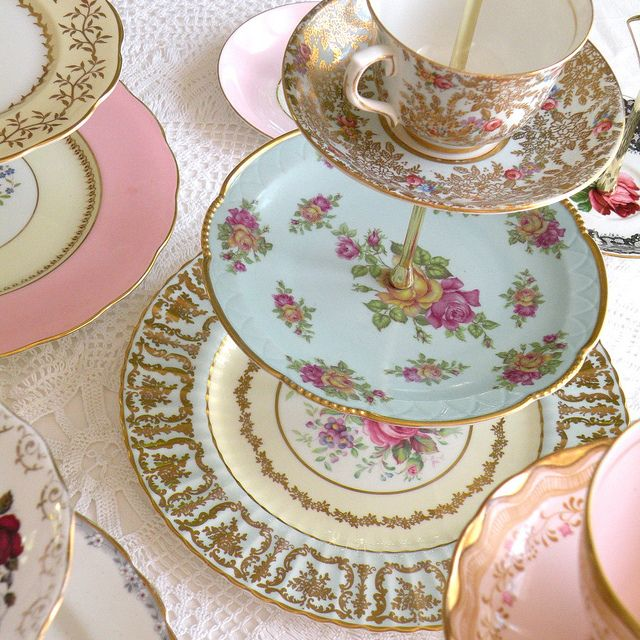 "Ever since going to Galway last summer and having ""high tea"" I've been collecting plates to make a tea stand like this."