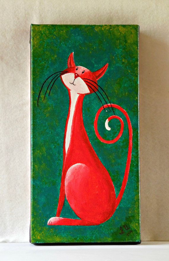 "Original Cat Painting for Sale : Fantasy Cats ""Poised Cat in Crimson"""