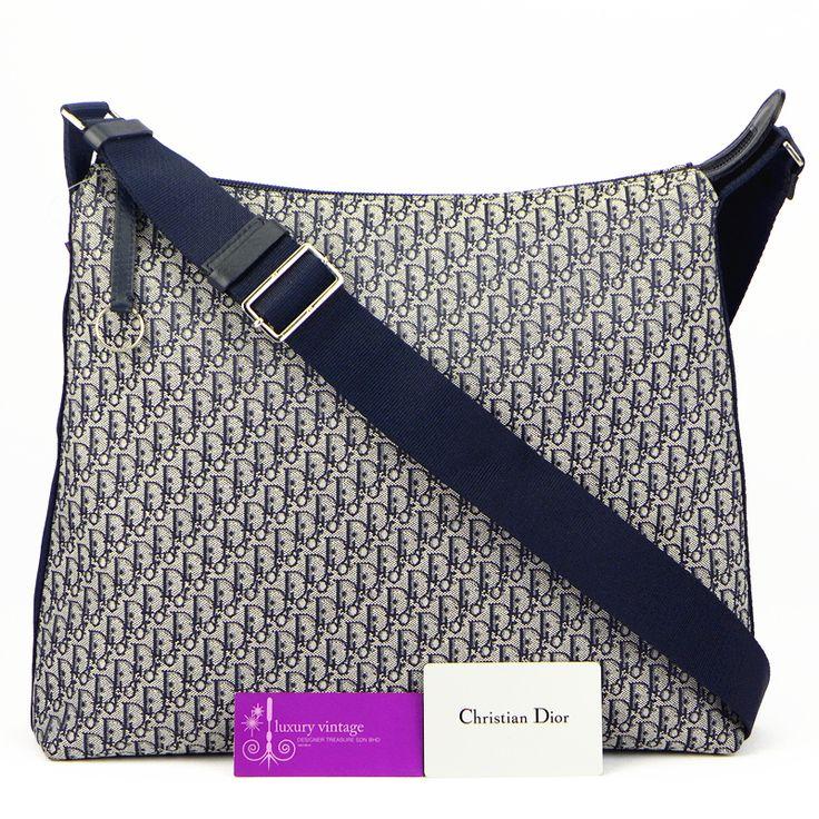 C.Dior Sling Bag Navy Blue Monogram Canvas Good Condition Ref.code ...