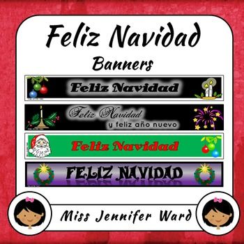 "Here are four banners to add a bit of festive season to your Spanish TPT leaderboard banner. Three banners read ""Feliz Navidad"" with the fourth reading ""Feliz Navidad y feliz ao nuevo"". All banners are in Spanish.Please note: All store banner sets will be FREE for the first 48 hours!"