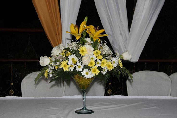 Centro de mesa principal, hermosa copa de Martini