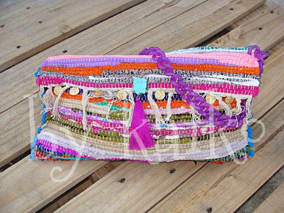 Unique Handmade boho Messenger kourelou bag. Womens Gift.Colorful Sporty Bag with pom poms,tassels