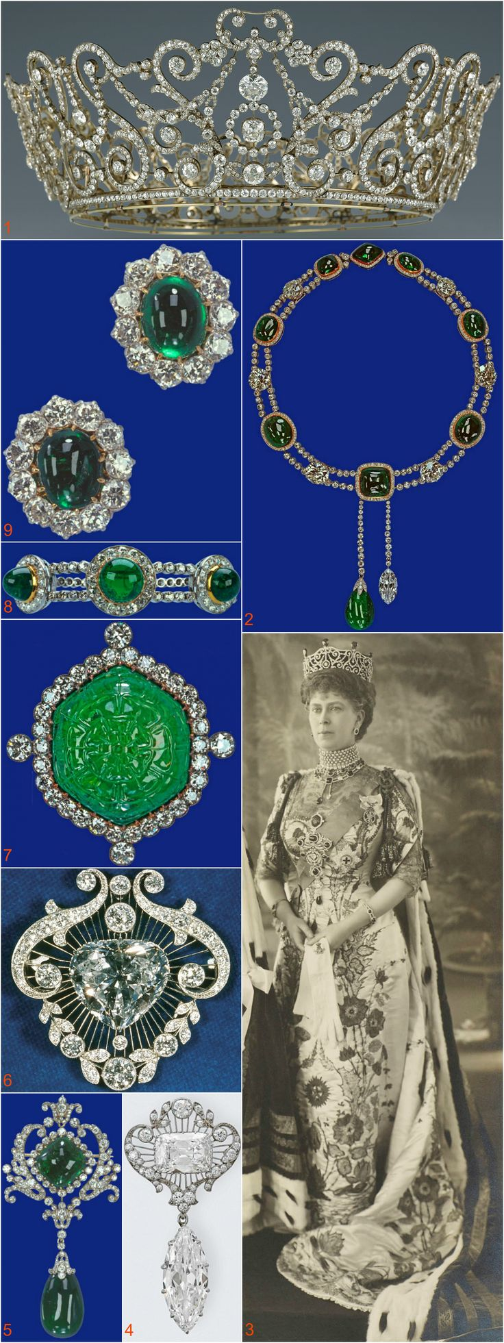 DELHI DURBAR TIARA~ worn by Queen Mary to the Durbar in Delhi on 1911, to mark the succession of King George V to the throne. Part of the Queen's parure of emeralds and diamonds made for the occasion by Garrards which also included a necklace (2), stomacher, brooch (7), bracelet (8) and earrings (9). Cullinan V (6) and Cullinan VIII (emerald-cut stone in 4) were worn as part of the stomacher. Queen Mary wore the stomacher with Cullinan VIII separating the two emeralds of the brooch in image 5.: