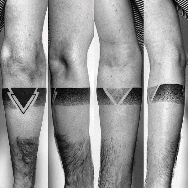 Guys Dotwork Geometrical Black Band Leg Tattoos