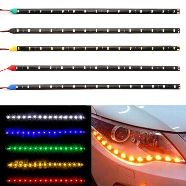 2pcs 30CM 15 SMD LED Waterproof Day Running Car Flexible Strip Red Light Lamps